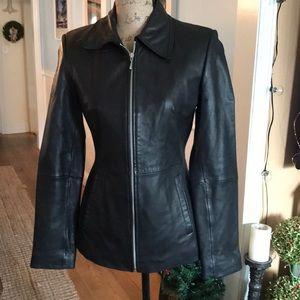 Black slick leather/lamb skin coat size Small